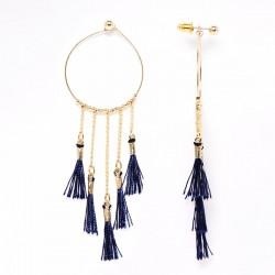 Boucle d'oreille goutte bleu avec pompon bleu Candy bijoux