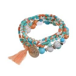 Bracelet perles multicolore pendentif