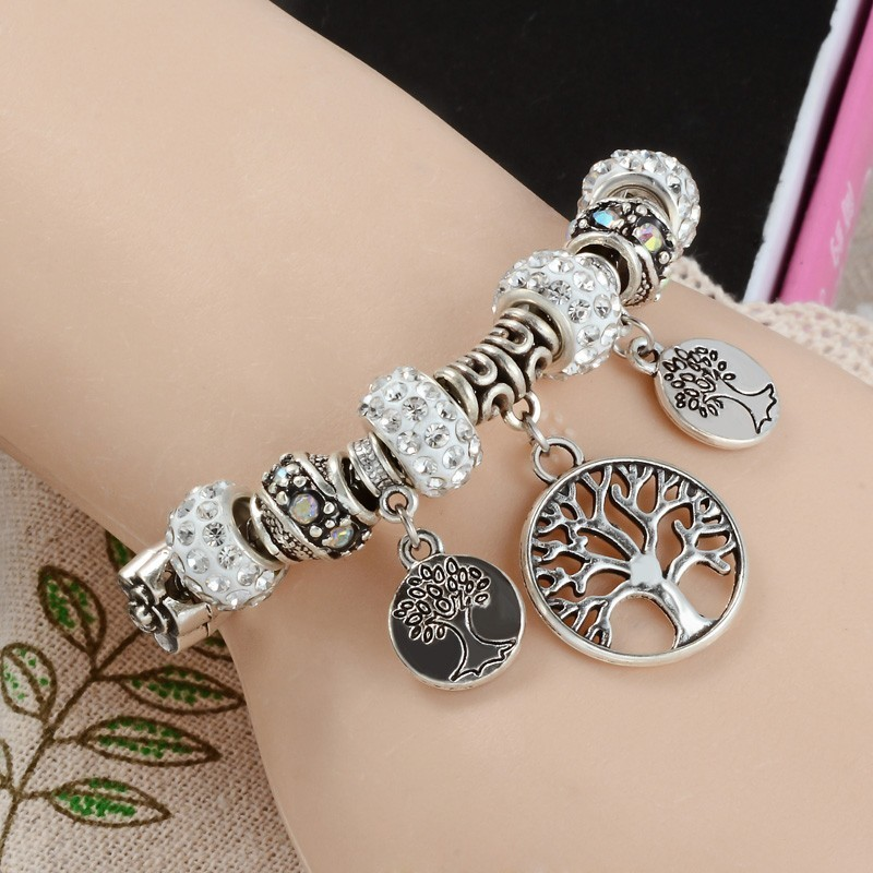 Bracelet style Pandora médaille arbre