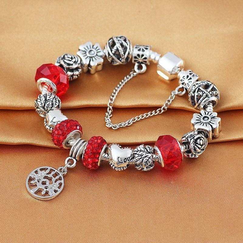 Bracelets-Pendentifs-Chaînes de Sécurité-Plaqué Argent-Cuivre-Verre-Zirconium-Pavé-Argenté-Rouge-Marguerite-Fleur