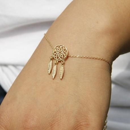Bijoux bracelet attrape rêve pendentif plumes