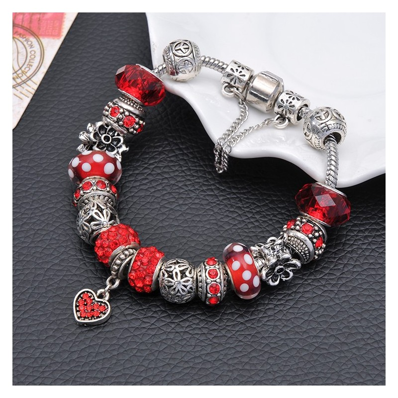 Bijoux bracelet style Pandora strass verre rouge Candy Bijoux