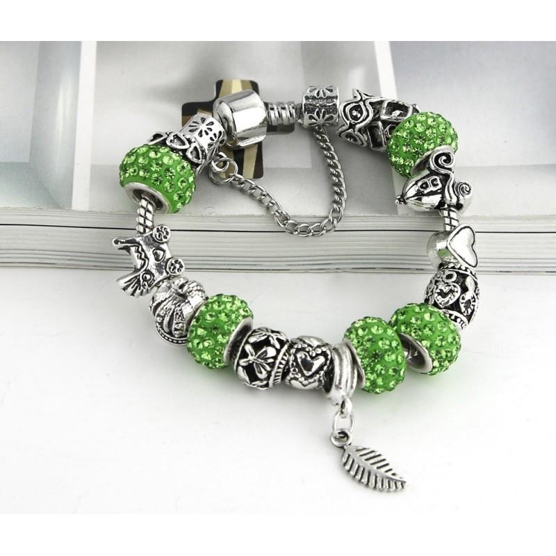 Bijoux style Pandora strass charms vert feuille - Livraison offerte