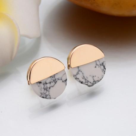 Bijoux boucle d'oreille marbre blanc Candy Bijoux