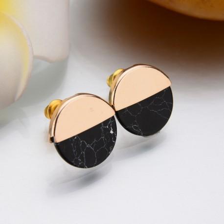 Boucle d'oreille clou ou puce Marbre noir Candy Bijoux