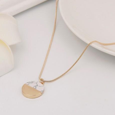 Bijoux collier pendentif médaille or et marbre Candy Bijoux