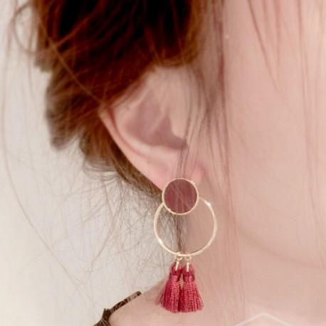 Boucle d'oreille pompon et pastille Candy Bijoux