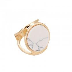 Bague double anneau marbre blanc Candy Bijoux