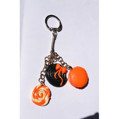 Porte clé Fimo imitation bonbon acidulé orange Candy Bijoux