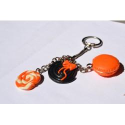 Porte clé Fimo imitation bonbon acidulé orange