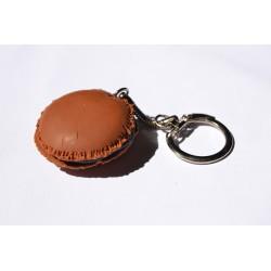 Porte clé Fimo macaron couleur chocolat Candy bijoux