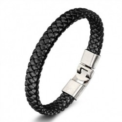 Bracelet homme cuir noir Candy Bijoux