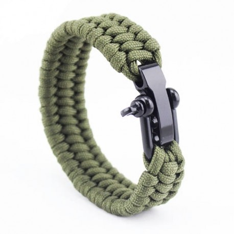 Bracelet Homme-tissage-corde-vert