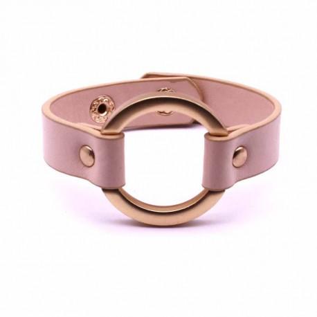 Bracelet cuir avec anneau rose bijoux Femme