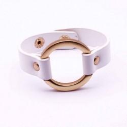 Bracelet cuir avec anneau blanc bijoux Femme