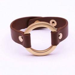 Bracelet cuir avec anneau marron bijoux Femme