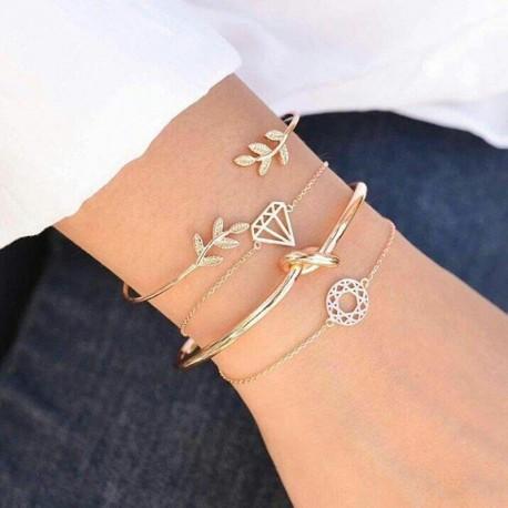 4 Bracelets Diamant sur poignet Femme marque Tocona feuille nœud