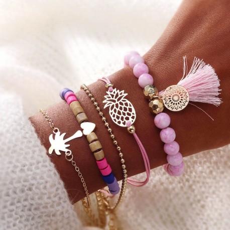 5 bracelets sur poignée pompon, ananas,palmier, perles rose