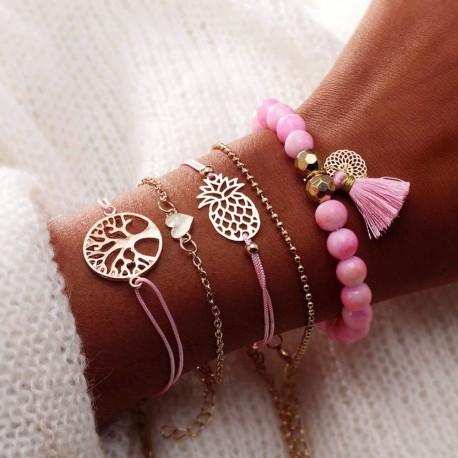 Lot de 5 bracelets perle rose pompon cœur ananas et arbre géométrique