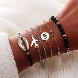 Lot de 6 bracelets sur poignée coquillage, avion, perles noire