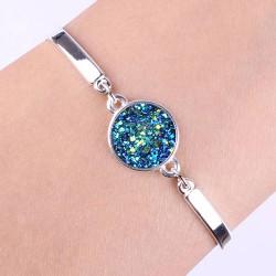 Bracelet Lucie poignée strass bleu a paillettes, pierre Druzy
