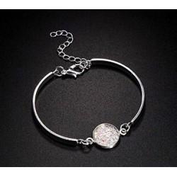 bracelet lucie blanc fermoir mousqueton strass brillant