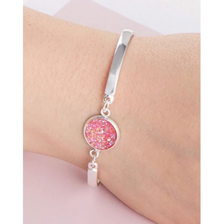 Bracelet Lucie rose fantaisie strass rose pierre Druzy