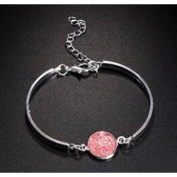 Bracelet Lucie rose fantaisie strass rose pierre Druzy, fermoir