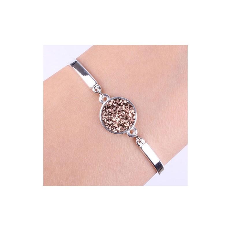 Bracelet au bras couleur strass druzy marron fantaisie