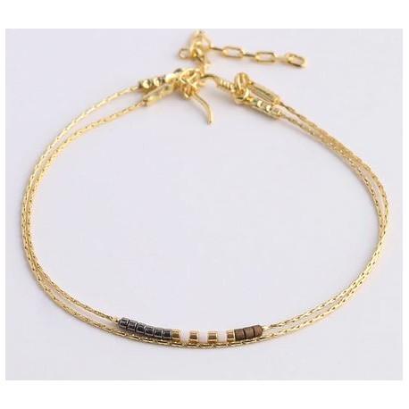 Bracelet chainette monté de perles noir et marron avec fermoir