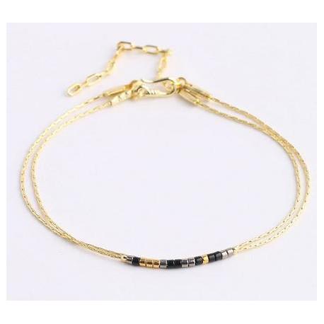 Bracelet perles double chaîne or perles couleur noir et gris, fermoir crochet.