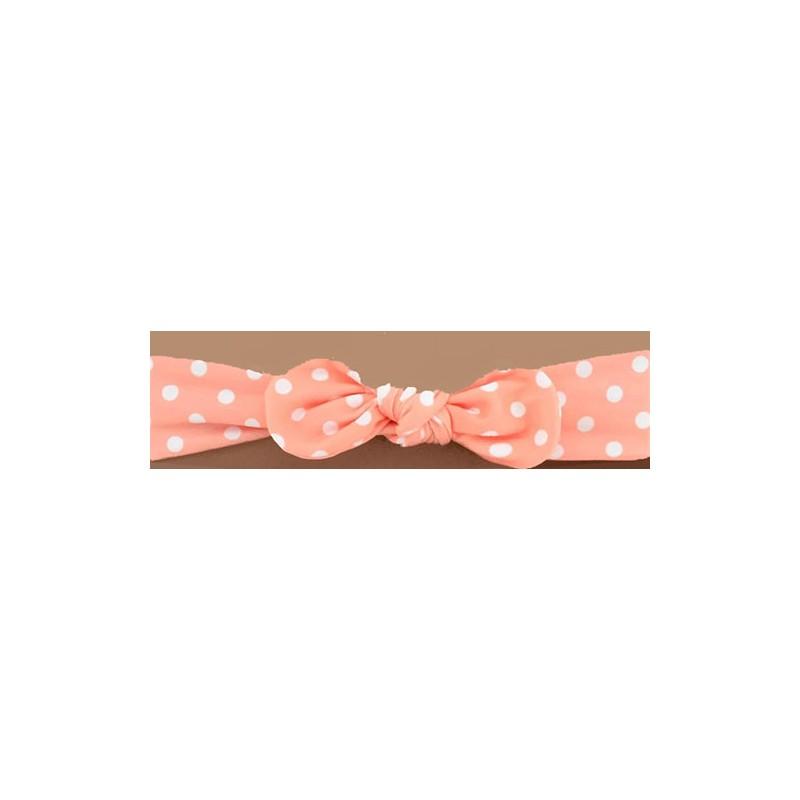 Bandeau pour bébé enfant rose pois blanc avec nœud.