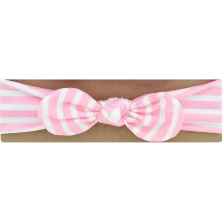 Bandeau rayé rose blanc avec nœud.