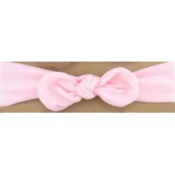 Bandeau tissu coton rose nœud.