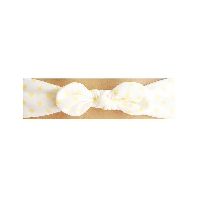 bandeau blanc pois jaune nœud.