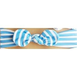 Bandeau fillette rayé de bleu ciel avec nœud.