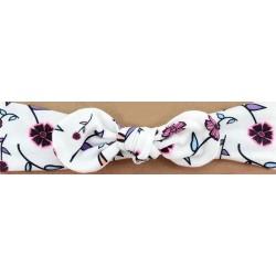 Bandeau blanc imprimé de fleurs avec nœud.