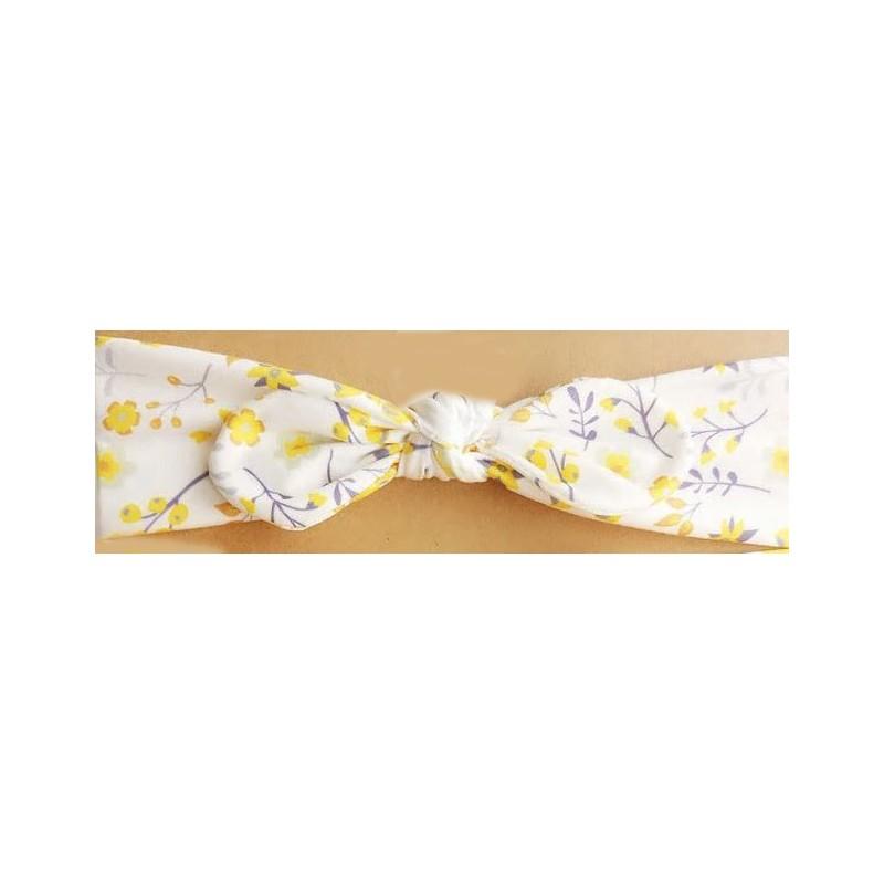 Bandeau bébé enfant fleur jaune nœud.