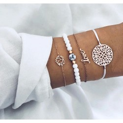 Lot de 4 pièces Bracelet Blanc Love