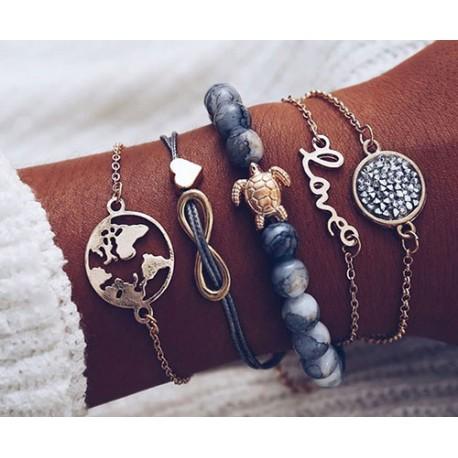 bracelet perles bleu motif Tortue, Love